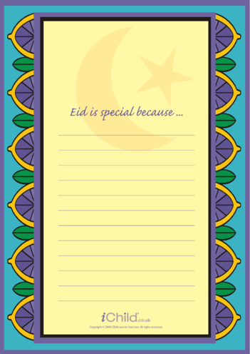 Thumbnail image for the Eid Lined Writing Paper Template activity.