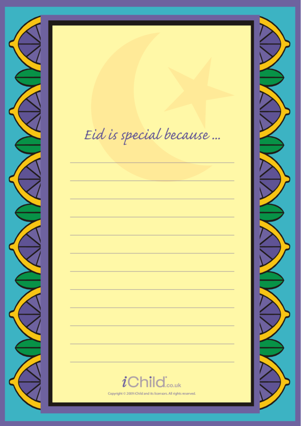 Eid Lined Writing Paper Template