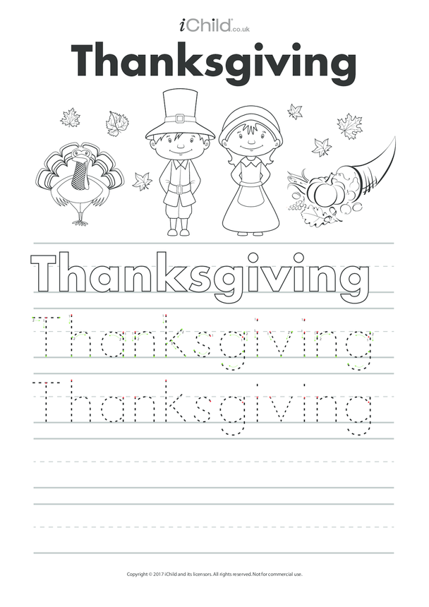 Thanksgiving Handwriting Practice Sheet