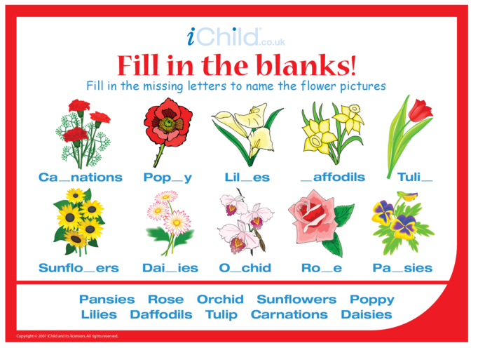 Thumbnail image for the Fill in the Blanks - Flowers activity.