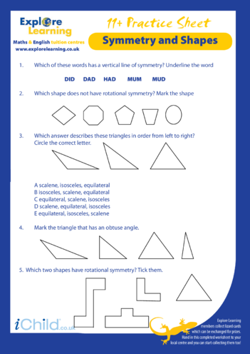 Thumbnail image for the Maths: 11 Plus Practice Paper - Symmetry & Shapes activity.