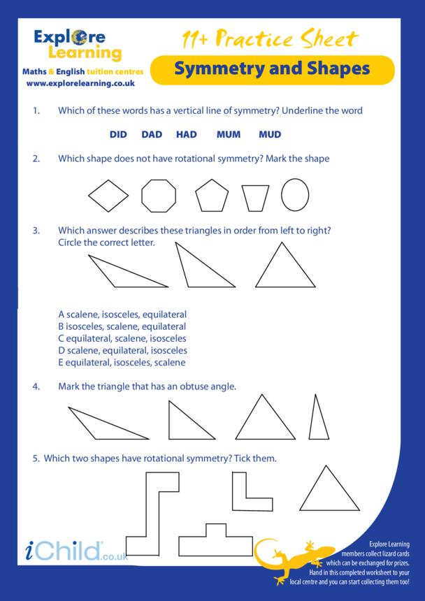Maths: 11 Plus Practice Paper - Symmetry & Shapes