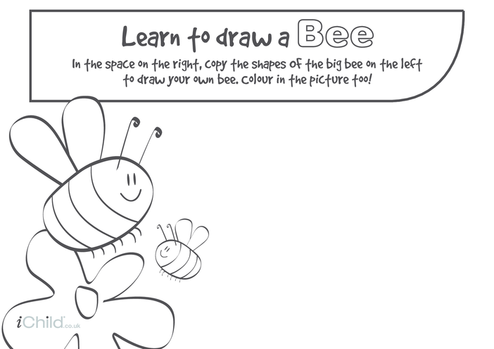 Thumbnail image for the Learn to Draw a Bee activity.