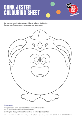 Thumbnail image for the Conk Jester & Friends Colouring in Sheets activity.