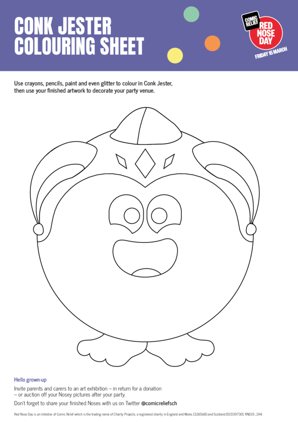 Conk Jester & Friends Colouring in Sheets