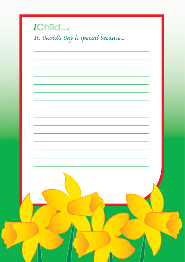 St. David's Day Lined Writing Paper Template- Daffodils