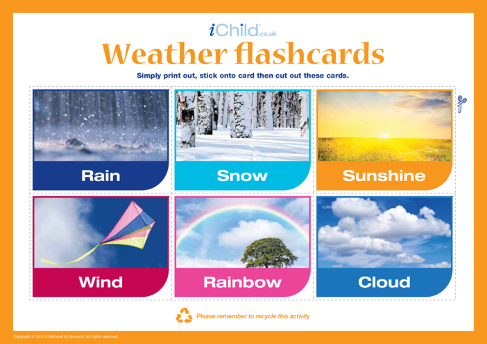 Thumbnail image for the Weather Flashcards activity.