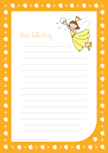 Thumbnail image for the Tooth Fairy Writing Paper Template (Orange) activity.