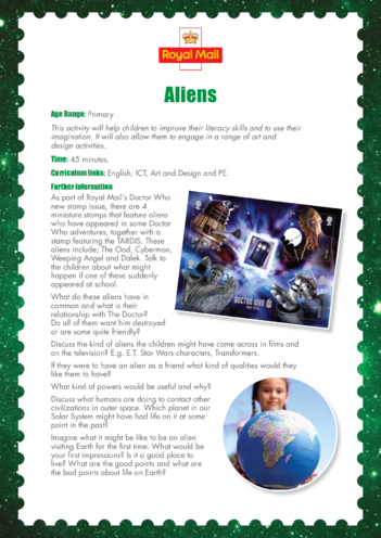 Thumbnail image for the Primary 2) Aliens Lesson Plan activity.