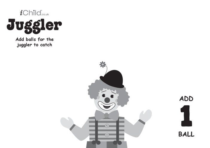 Thumbnail image for the Play Dough Counting Mats: Juggler (black & white) activity.