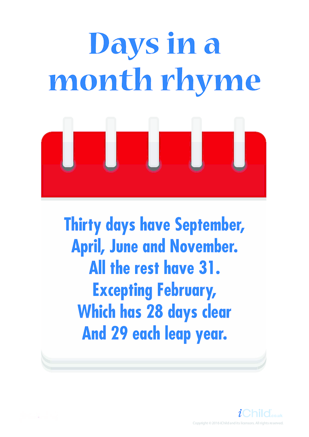 Days in a Month Rhyme