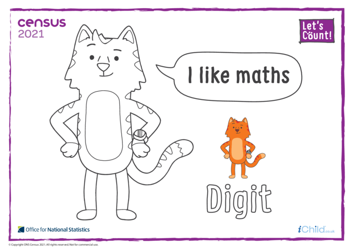 Thumbnail image for the Colour in Counter Cat Digit (English) activity.