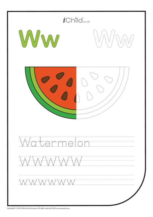 W: Write the Letter W for Watermelon