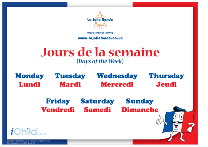 Thumbnail image for the Days of the Week in French activity.