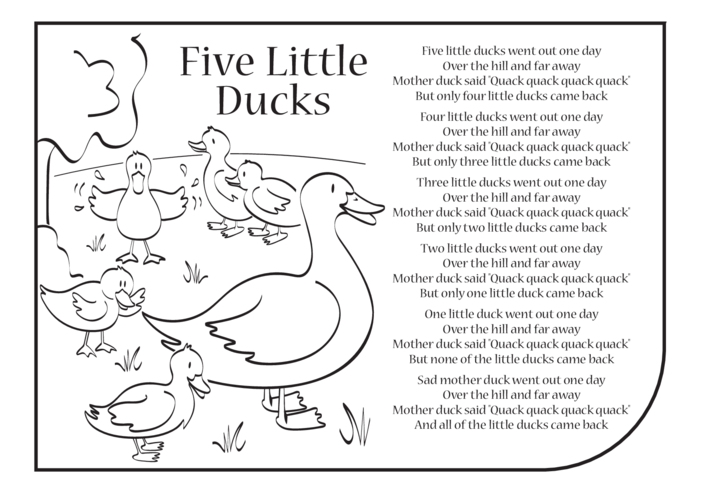 Thumbnail image for the Five Little Ducks Lyrics activity.