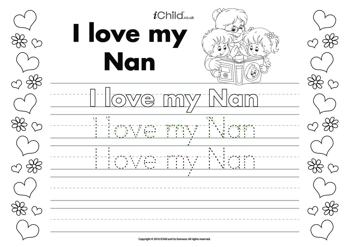 I Love My Nan Handwriting Practice Sheet