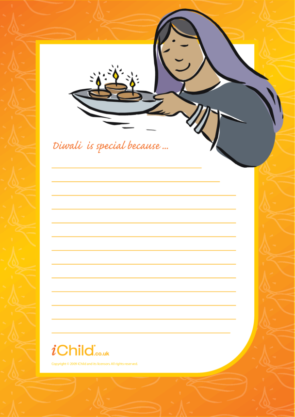 Diwali Lined Writing Paper Template