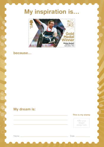Thumbnail image for the My Inspiration Is- Mickey Bushell- Gold Medal Winner Stamp Template activity.
