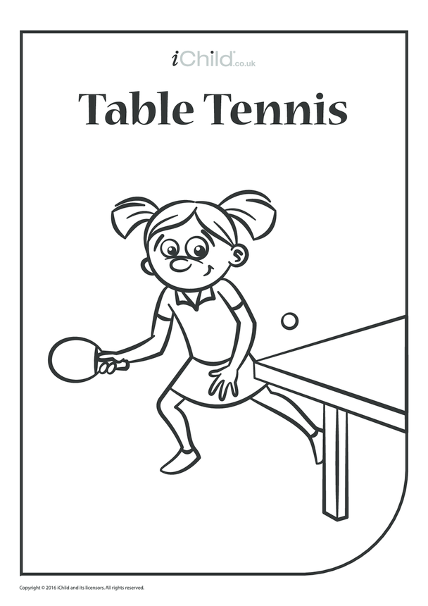 Table Tennis Colouring in Picture
