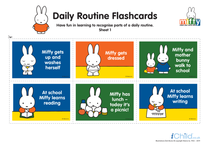 Thumbnail image for the Miffy Daily Routine Flashcards activity.