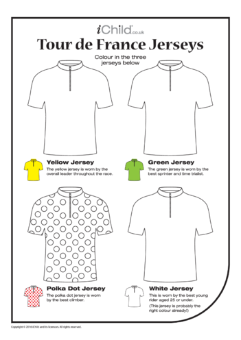 Thumbnail image for the Tour de France Jersey Colouring in Picture activity.