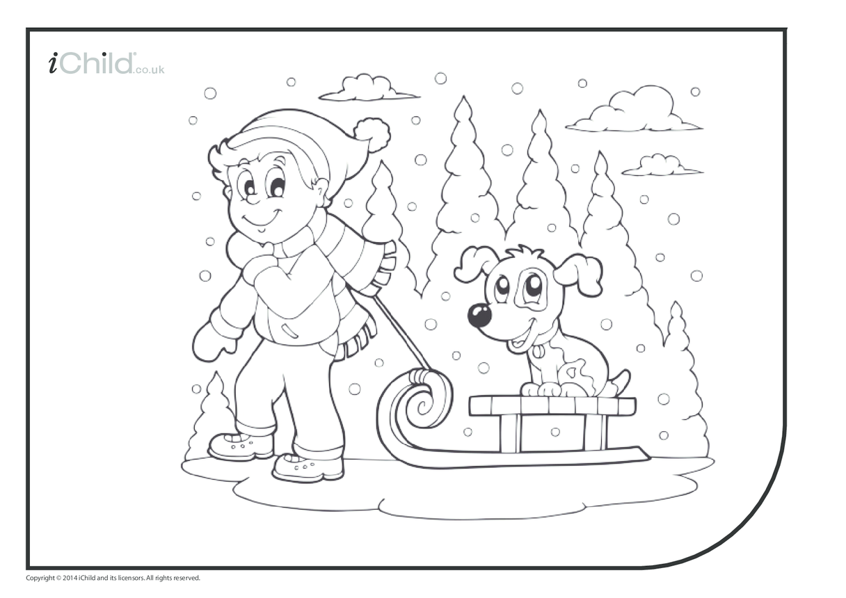Sledging Colouring in Picture