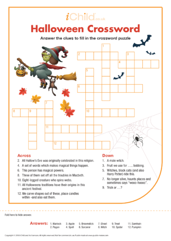Thumbnail image for the Halloween Crossword activity.