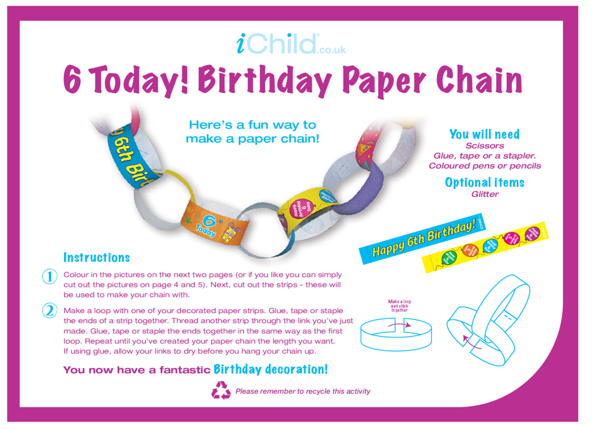 Birthday Party Decoration Paper Chain for 6 year old 6th birthday