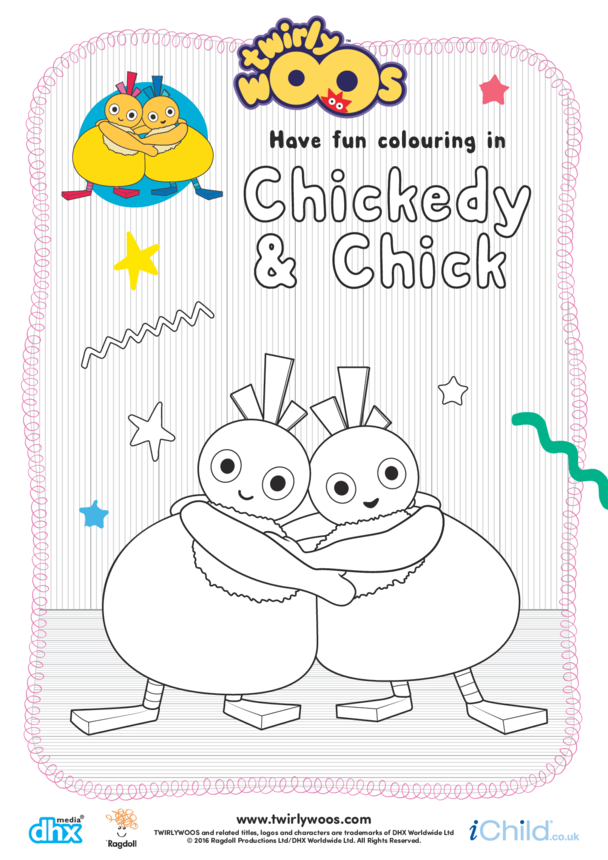 Chickedy & Chick Colouring in Picture