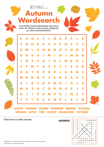 Thumbnail image for the Autumn Wordsearch activity.