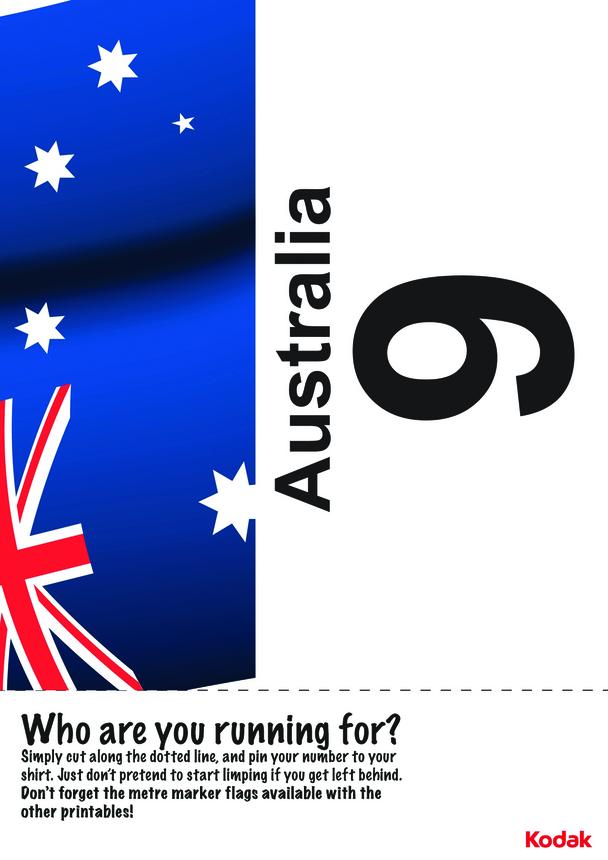 Kodak Running Bib; Australia