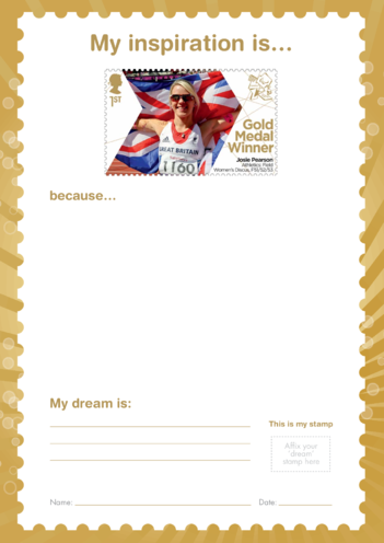 Thumbnail image for the My Inspiration Is- Josie Pearson- Gold Medal Winner Stamp Template activity.