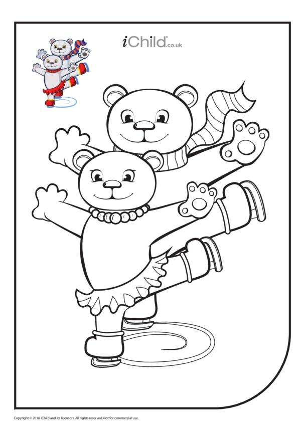 Figure Skating Bears Colouring in Picture
