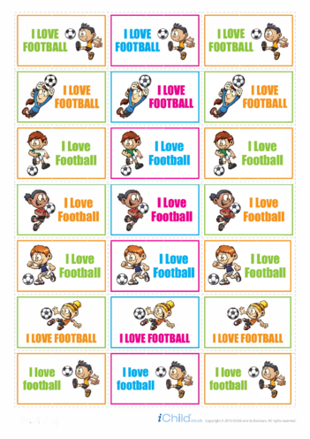 Thumbnail image for the Football Large Sticker Sheet activity.