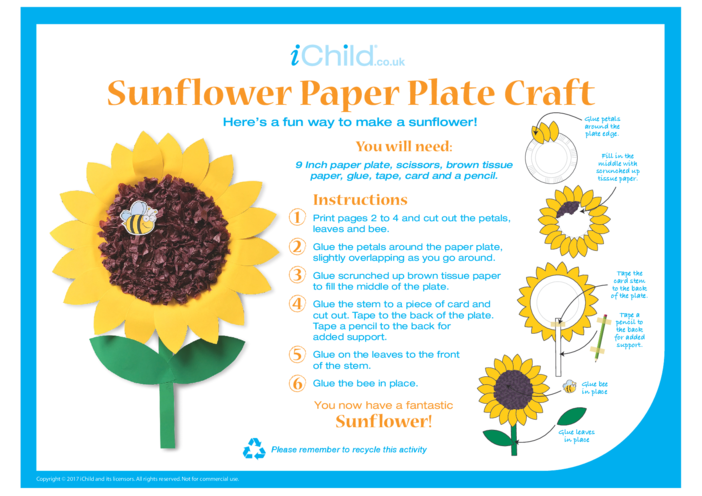 Thumbnail image for the Sunflower Paper Plate Craft activity.