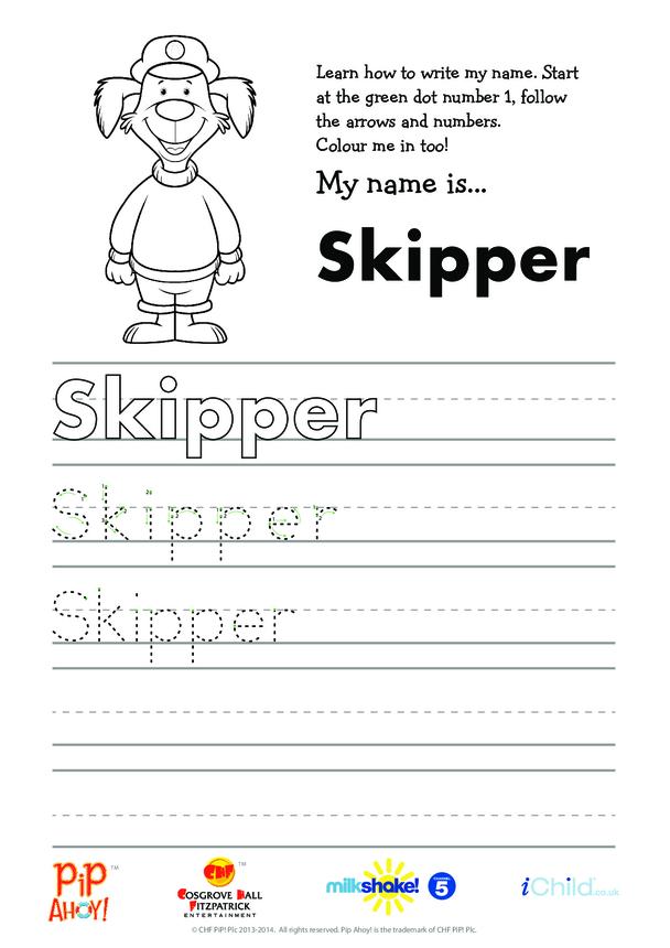 Uncle Skipper Handwriting Practice Sheet (Pip Ahoy!)