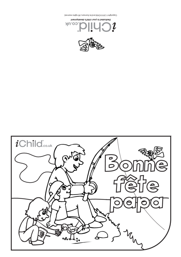 Father's Day Card in French- Fishing