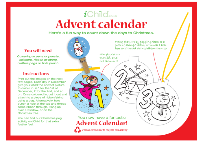 Thumbnail image for the Advent Calendar Decoration Craft activity.