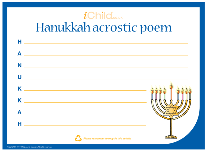 Thumbnail image for the Hanukkah Acrostic Poem activity.