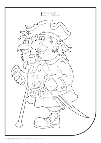 Thumbnail image for the Old Pirate & Parrot Colouring in Picture activity.