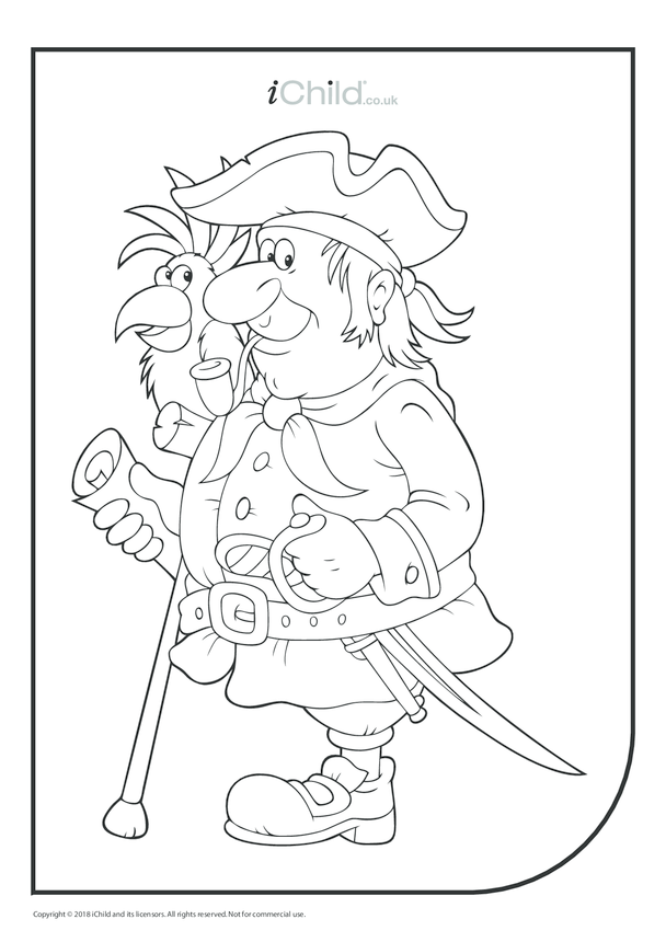 Old Pirate & Parrot Colouring in Picture
