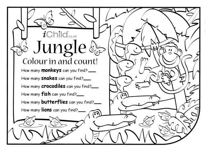 Thumbnail image for the Colour in & Count - Jungle activity.