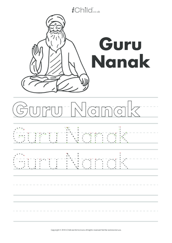 Thumbnail image for the Guru Nanak Handwriting Practice Sheet activity.