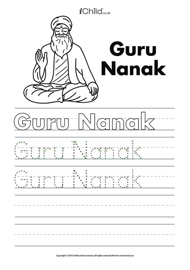 Guru Nanak Handwriting Practice Sheet