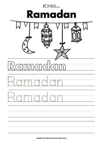 Thumbnail image for the Ramadan Handwriting Practice Sheet activity.