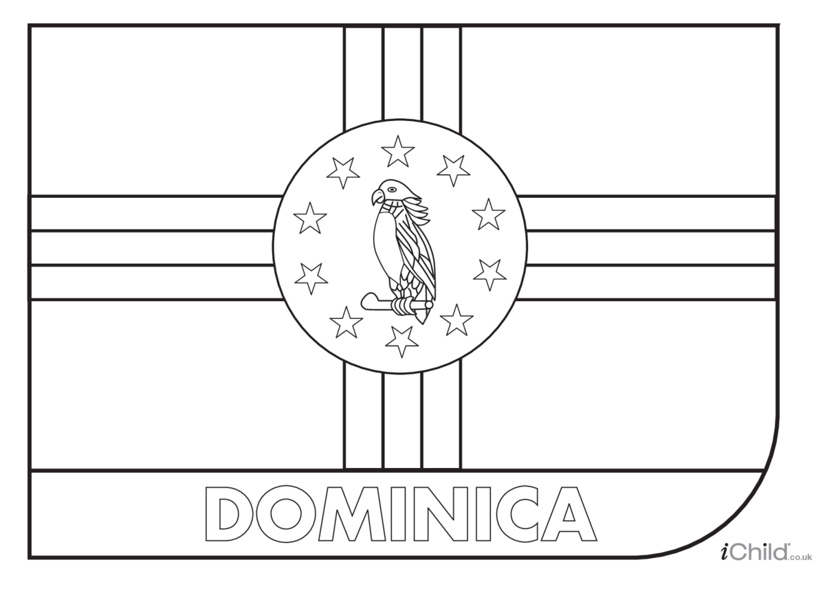 Dominica Flag Colouring in Picture (flag of Dominica)