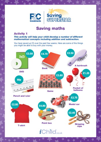 Thumbnail image for the 7-11 years (1) Saving maths activity.