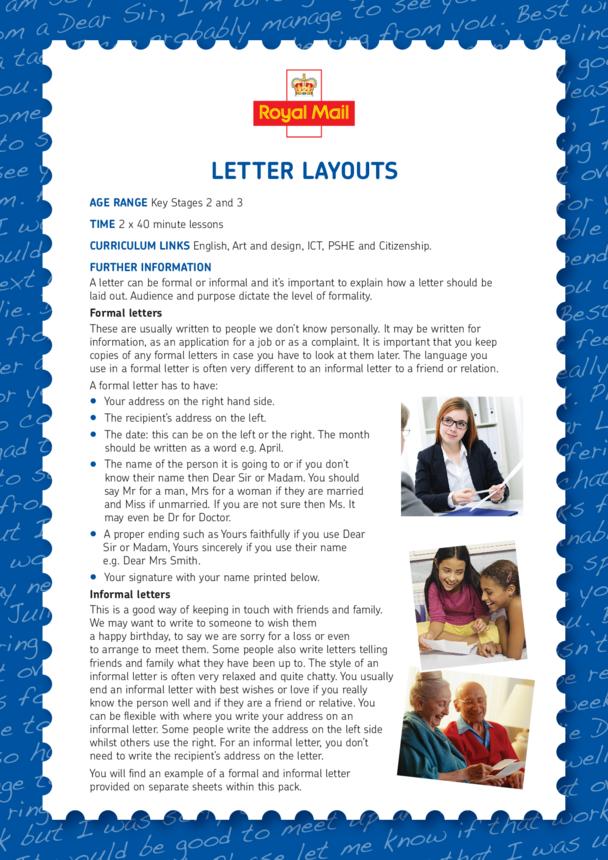 Lesson Plan 3: Letter Layouts