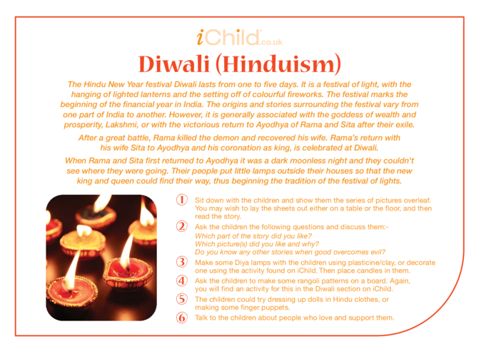 Thumbnail image for the Diwali (Hinduism) Religious Festival Story activity.