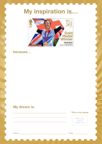 Thumbnail image for the My Inspiration Is- David Stone- Gold Medal Winner Stamp Template activity.